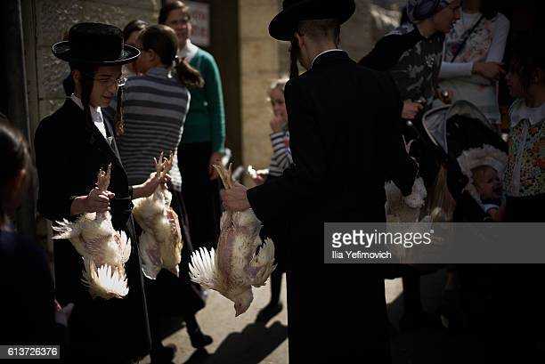 UltraOrthodox Jewish men perform the Kaparot ceremony on October 10 2016 in Jerusalem Israel It is believed that the Jewish ritual which involves...