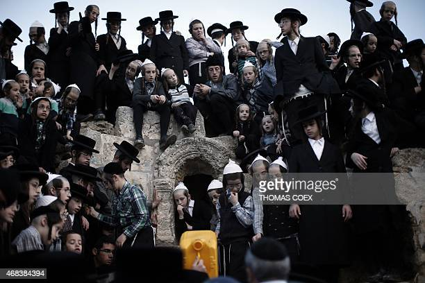 UltraOrthodox Jews collect water from a mountain spring near Jerusalem to be used in baking unleavened bread known as Matzoth during the Maim Shelanu...