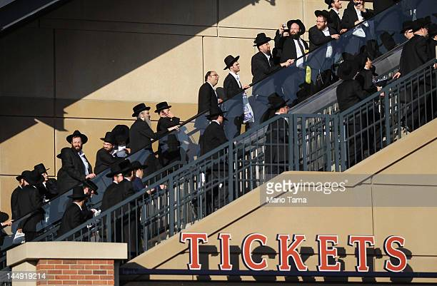 UltraOrthodox Jews enter Citi Field for a meeting to discuss the risks of using the Internet on May 20 2012 in the Queens borough of New York City...