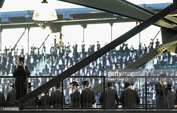 Ultra-Orthodox Jews gather at Citi Field for a meeting to discuss the risks of using the Internet on May 20, 2012 in the Queens borough of New York...
