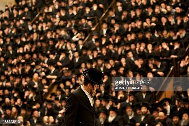 UltraOrthodox Jews of the Belz Hasidim attend a ceremony to celebrate the Jewish feast of Tu Bishvat the new year of the tree in Jerusalem on...