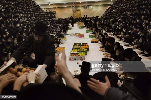 UltraOrthodox Jews of the Belz Hasidim distribute fruits as they celebrate the Jewish feast of Tu Bishvat during a Tish ceremony with their rabbi on...