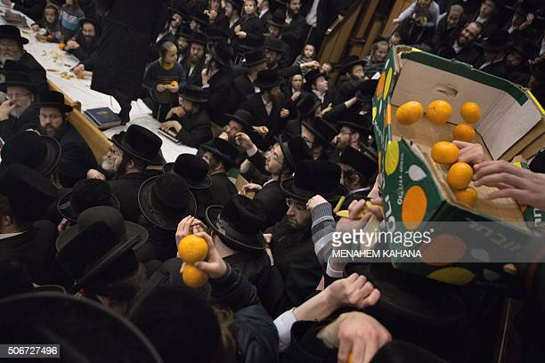 UltraOrthodox Jews of the Belz Hasidim receive fruits during the celebration of the Jewish feast of Tu Bishvat on January 25 2016 in Jerusalem / AFP...