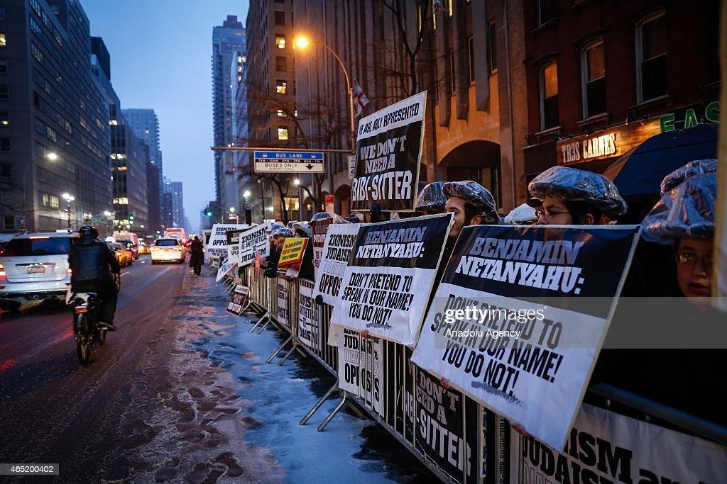 Protest in New York against Netanyahu's Congress speech : News Photo