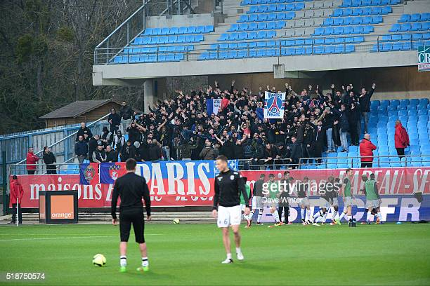 PSG Ultras during the French Ligue 1 match between ESTAC Troyes and Angers SCO on April 2 2016 in Troyes France