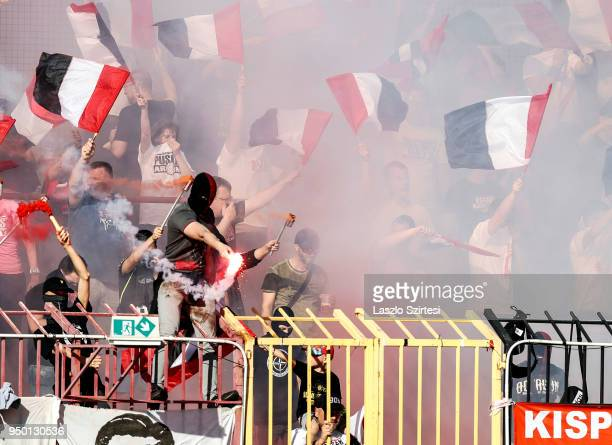 Ultras of Budapest Honved cheer for their team with flares and smoke during the Hungarian OTP Bank Liga match between Budapest Honved and Ujpest FC...
