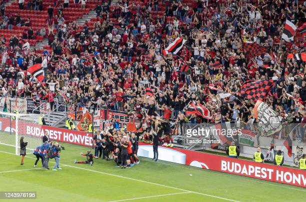 Ultras of Budapest Honved flutter flags behind the cup winner team during the Hungarian Cup Final match between Budapest Honved and Mezokovesd Zsory...