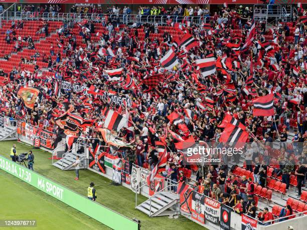 Ultras of Budapest Honved flutter flags during the Hungarian Cup Final match between Budapest Honved and Mezokovesd Zsory FC at Puskas Arena on June...