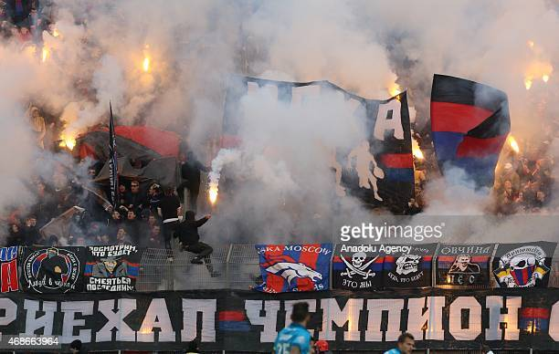 Ultras of CSKA Moscow show their support during the Russian Football Premiere League match between Zenit StPetersburg and CSKA Moscow at the...