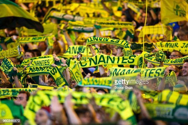 Ultras of FC Nantes during the Ligue 1 match between Nantes and Strasbourg at Stade de la Beaujoire on May 19 2018 in Nantes