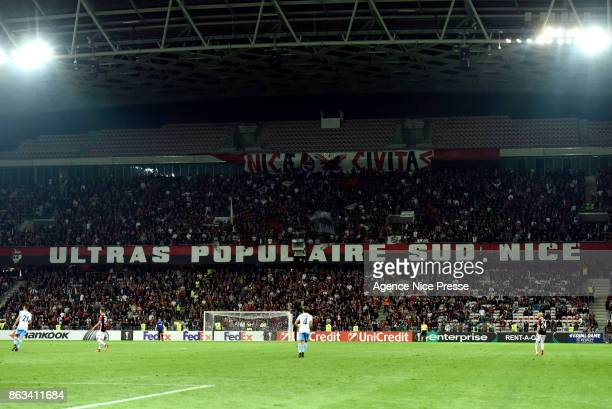 Ultras of Nice during the Europa League match between OGC Nice and Lazio Roma at Allianz Riviera on October 19 2017 in Nice France