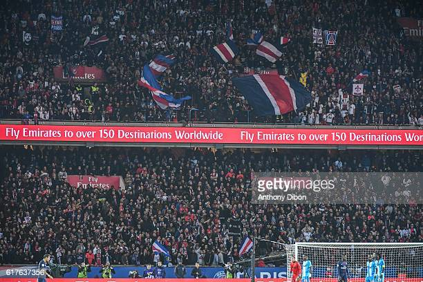 Ultras of PSG during the Ligue 1 match between Paris Saint Germain and Marseille at Parc des Princes on October 23 2016 in Paris France