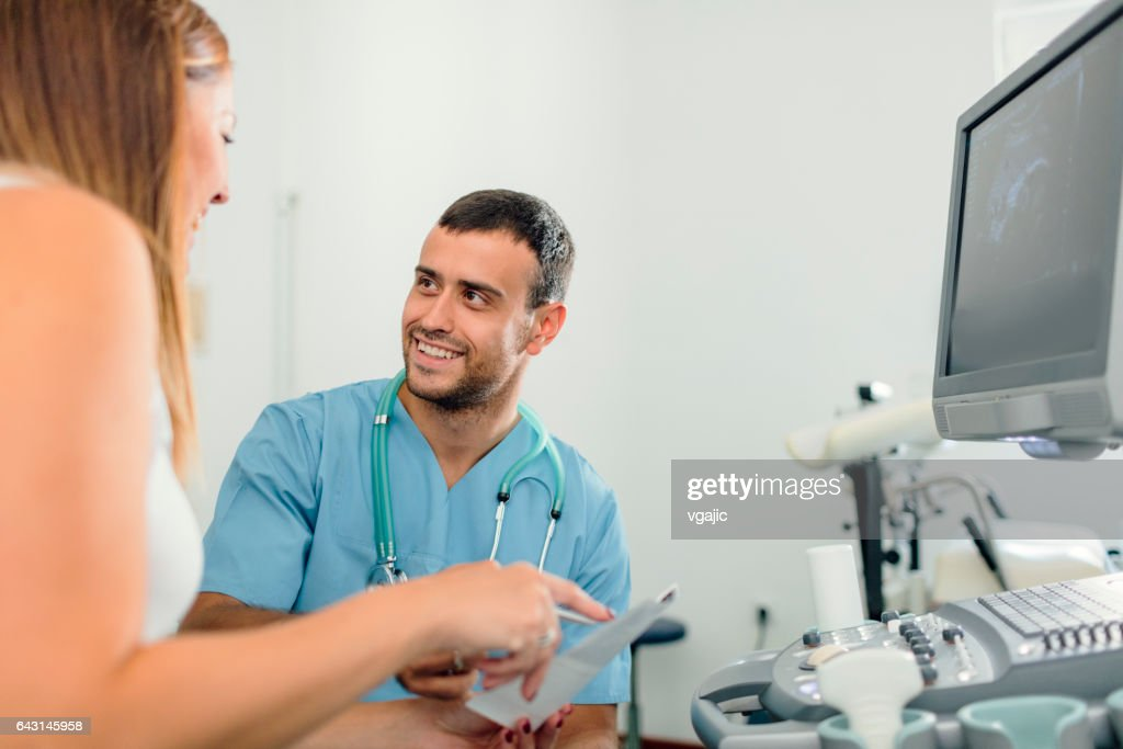 Ultrasound Examination In Doctors Office : Stock Photo