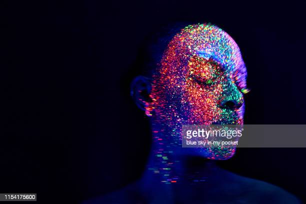 ultraviolet conceptual make-up and photography - body paint stock pictures, royalty-free photos & images