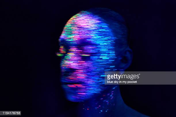 ultraviolet conceptual make-up and photography - kunst kultur und unterhaltung fotos stock-fotos und bilder