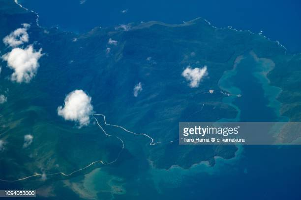 Ulugan Bay in Puerto Princesa in Province of Palawan in Philippines daytime aerial view from airplane daytime aerial view from airplane