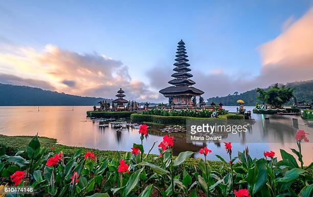 Ulun Danu Beratan temple with beautiful iris at sunrise, Bali, Indonesia
