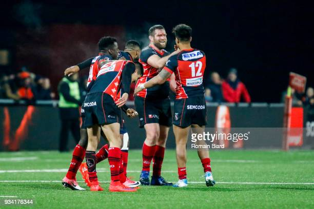 Ulupano Seuteni of Oyonnax and Axel Muller Aranda of Oyonnax and Dug Codjo of Oyonnax during the Top 14 match between Oyonnax and Toulon at on March...