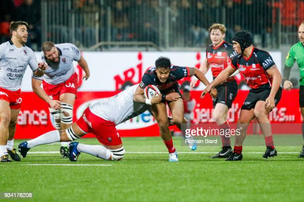Ulupano Seuteni of Oyonnax and Romain Taofifenua of Toulon during the Top 14 match between Oyonnax and Toulon at on March 17 2018 in Oyonnax France