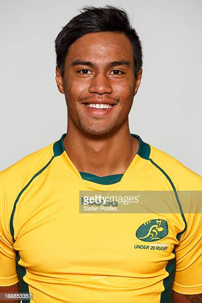 Ulupano Seuteni poses during a Under 20's Australian Wallabies headshots session on April 20 2013 in Canberra Australia