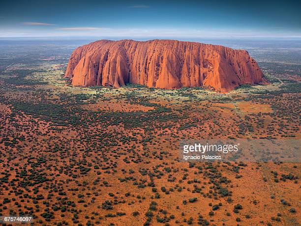 uluru (ayers rock) aerial - uluru stock pictures, royalty-free photos & images