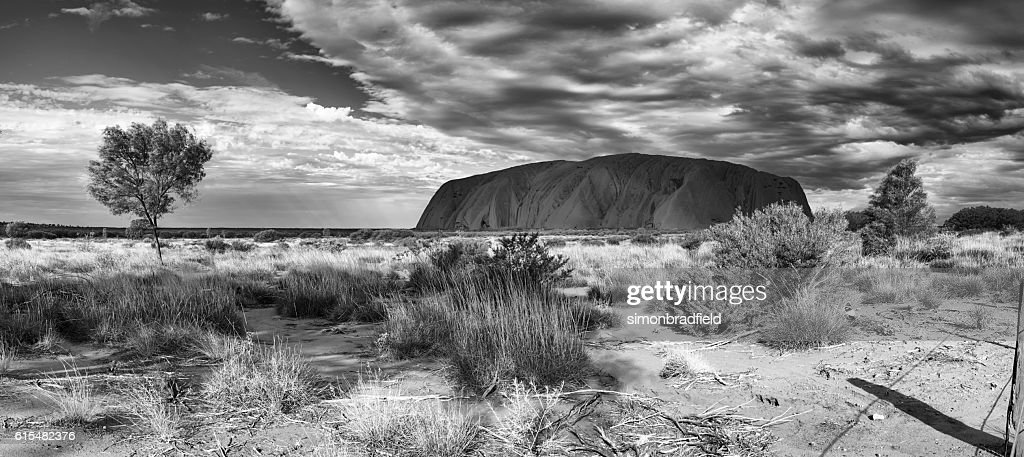 Uluru panoramic in black and white stock photo