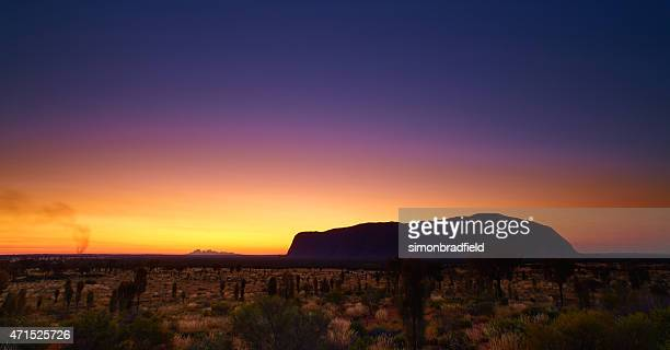 uluru-kata tjuta national park at dusk - uluru stock photos and pictures