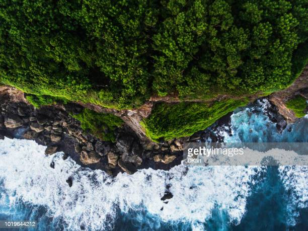 uluwatu cliff aerial view - hd format stock pictures, royalty-free photos & images