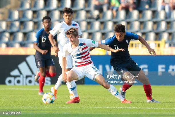 Uly Llanez Jr competes for the ball with Boubacar Kamara of France during the FIFA U20 World Cup match between France and USA on June 4 2019 in...
