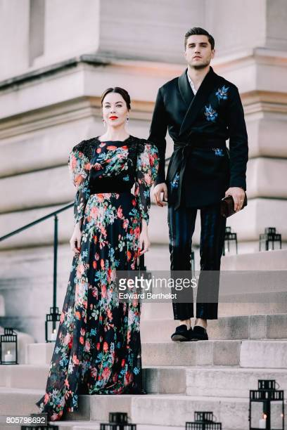 Ulyana Sergeenko and Frol Burimskiy attend the the amfAR Paris Dinner at Le Petit Palais during Paris Fashion Week Haute Couture Fall/Winter 20172018...