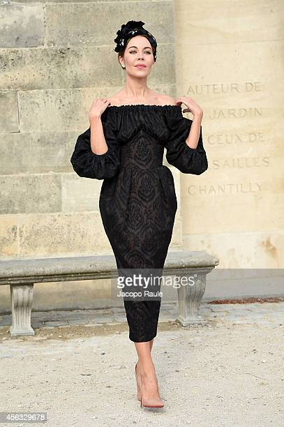 Ulyana Sergeenko arrives at the Elie Saab show during Paris Fashion Week Womenswear SS 2015 on September 29 2014 in Paris France