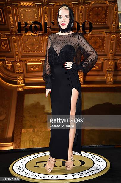 Ulyana Sergeenko attends the #BoF500 Cocktail Event as part of the Paris Fashion Week Womenswear Spring/Summer 2017 at Hotel de Ville on October 4...