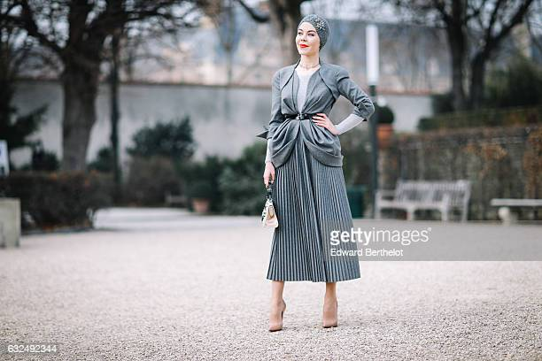 Ulyana Sergeenko attends the Christian Dior Haute Couture Spring Summer 2017 show as part of Paris Fashion Week at the Rodin Museum on January 23...