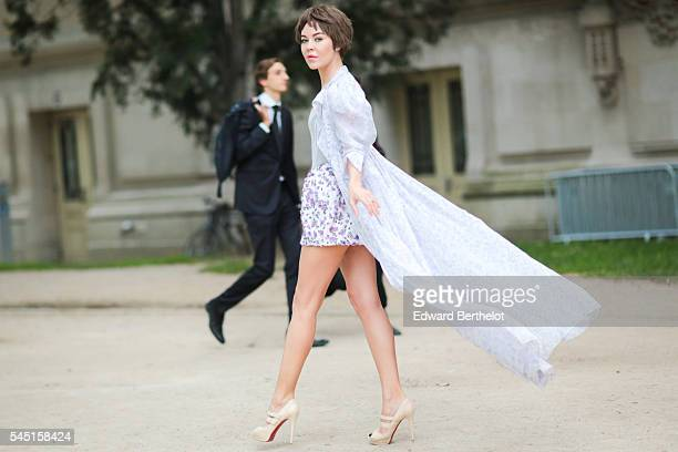 Ulyana Sergeenko attends the Giambattista Valli Haute Couture Fall/Winter 20162017 show as part of Paris Fashion Week on July 4 2016 in Paris France