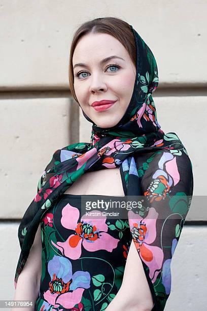Ulyana Sergeenko fashion designer wearing a dress she designed herself at Paris Fashion Week Autumn/Winter 2012 haute couture shows on July 02 2012...