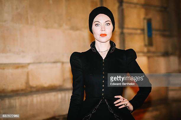 Ulyana Sergeenko is seen after the Giambattista Valli show during Paris Fashion Week Haute Couture Spring Summer 2017 on January 23 2017 in Paris...