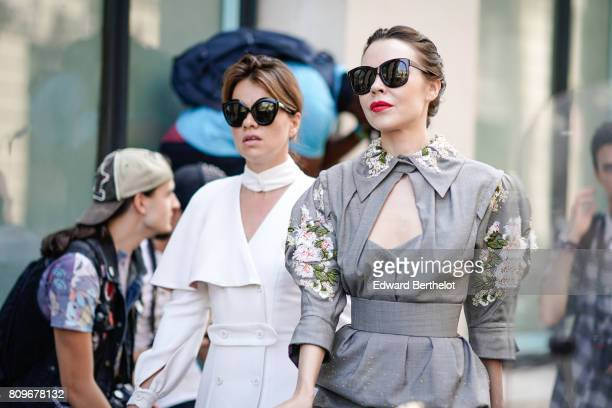 Ulyana Sergeenko is seen outside the Elie Saab show during Paris Fashion Week Haute Couture Fall/Winter 20172018 on July 5 2017 in Paris France