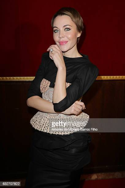 Ulyana Sergeenko poses backstage Prior the Ulyana Sergeenko Haute Couture Spring Summer 2017 show as part of Paris Fashion Week on January 25 2017 in...