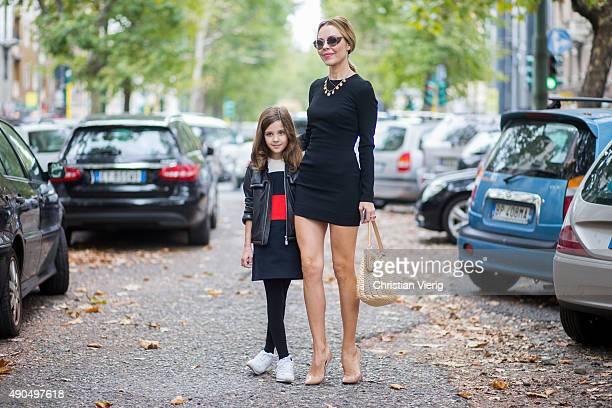 Ulyana Sergeenko with her daughter Vasilisa Khachaturova during Milan Fashion Week Spring/Summer 16 on September 27 2015 in Milan Italy