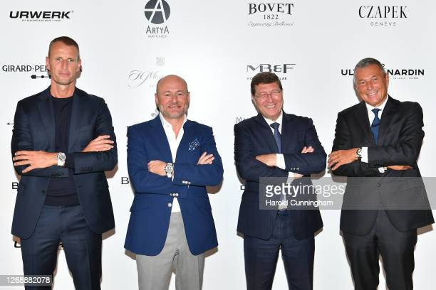 Ulysse-Nardin CEO Patrick Pruniaux, Breitling CEO Georges Kern, Council of State of Geneva Member Mauro Poggia, and Bulgari CEO Jean-Christophe Babin...