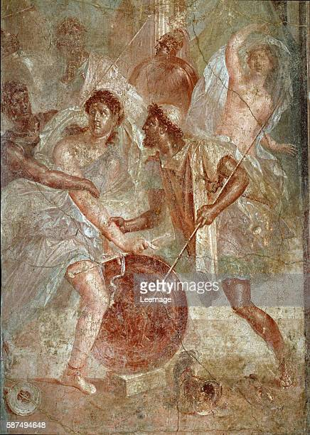 Ulysses and Diomedes recognizing Achilles disguised as the female Pyrrha amongst the Daughters of Lycomedes at Skyros Fresco from Pompeii 1455 x 1375...