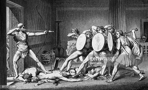 Ulysses kills the freeloaders The return of Ulysses Undated engraved illustration
