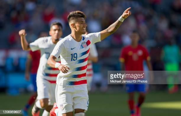 Ulysses Llanez Jr of the United States takes a PK scores and celebrates during a game between Costa Rica and USMNT at Dignity Health Sports Park on...