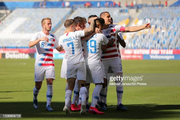 Ulysses Llanez of the United States celebrates scoring with teammates during a game between Costa Rica and USMNT at Dignity Health Sports Park on...