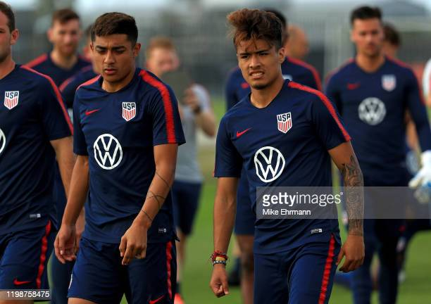 Ulysses LLanez of the US Men's National team practices during a training session at IMG Academy on January 10, 2020 in Bradenton, Florida.