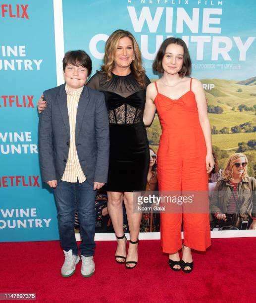 Ulysses McKittrick Ana Gasteyer and Frances Mary McKittrick attend the Wine Country World Premiere at Paris Theatre on May 08 2019 in New York City