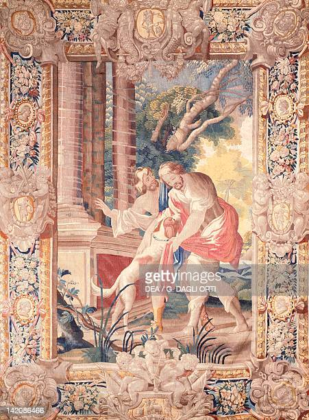 Ulysses' return to Ithaca his dog Argos recognizes him 17th century tapestry based on a cartoon by Simon Vouet manufacture of Amiens from the series...