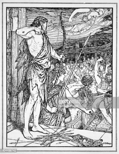 Ulysses Shoots the First Arrow at the Wooers' 1926 Ulysses killing the suitors of his wife Penelope after returning to Ithaca after his long absence...