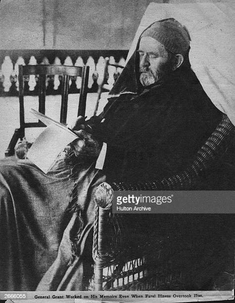 Ulysses Simpson Grant 18th President of the United States and American General sitting working on his memoirs after his fatal illness had overtaken...