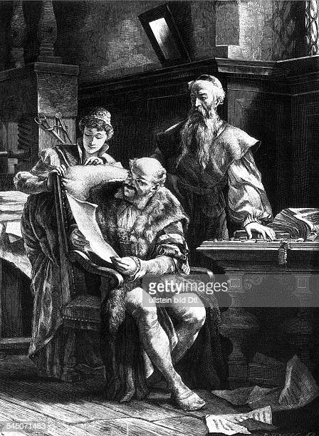 um 1394/99 1468Erfinder der Buchdruckkunst G zeigt seinem Freunde Fust die erstenDruckeZeichnung v Reiffenstein19Jh